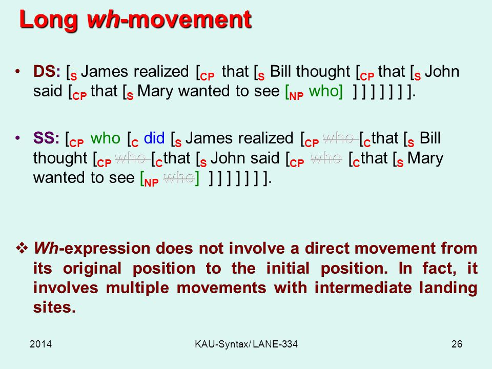 Long wh-movement DS: [S James realized [CP that [S Bill thought [CP that [S John said [CP that [S Mary wanted to see [NP who] ] ] ] ] ] ] ].